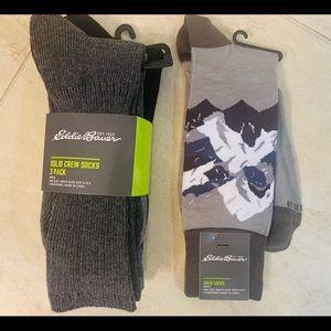 Eddie Bauer Solid Crew Socks 3-Pack& Novelty socks